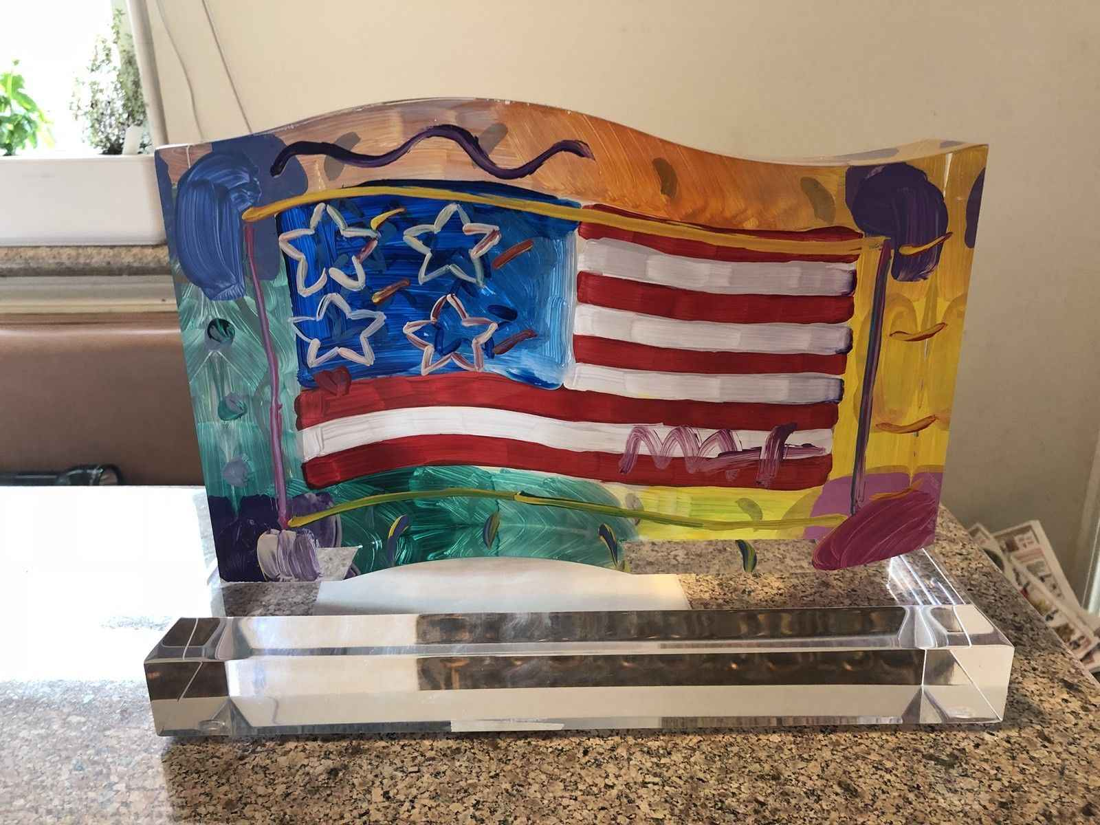 Flag with Heart by  Peter Max - Masterpiece Online