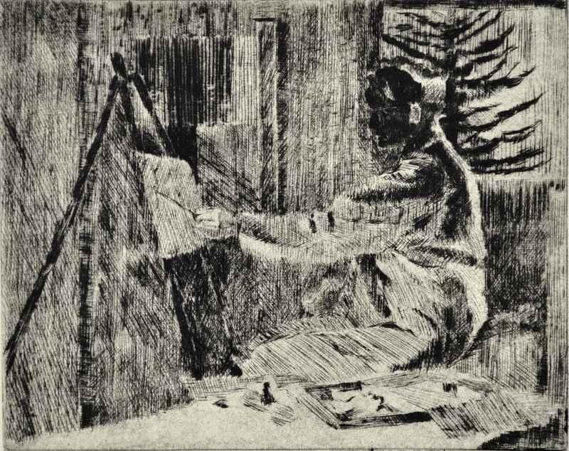 Man w/ Easel by  Bernard Brussel-Smith (1914-1989) - Masterpiece Online