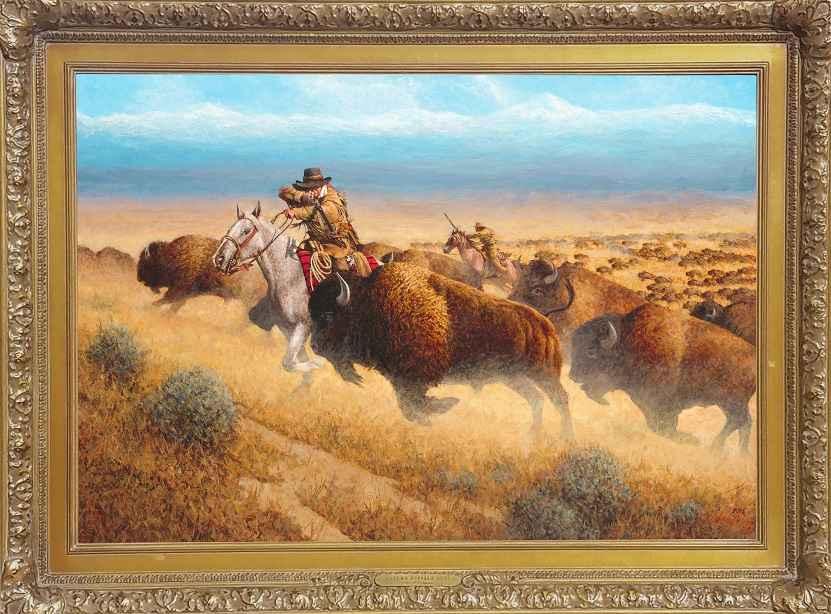Autumn Buffalo Hunt by  Joseph Velazquez - Masterpiece Online