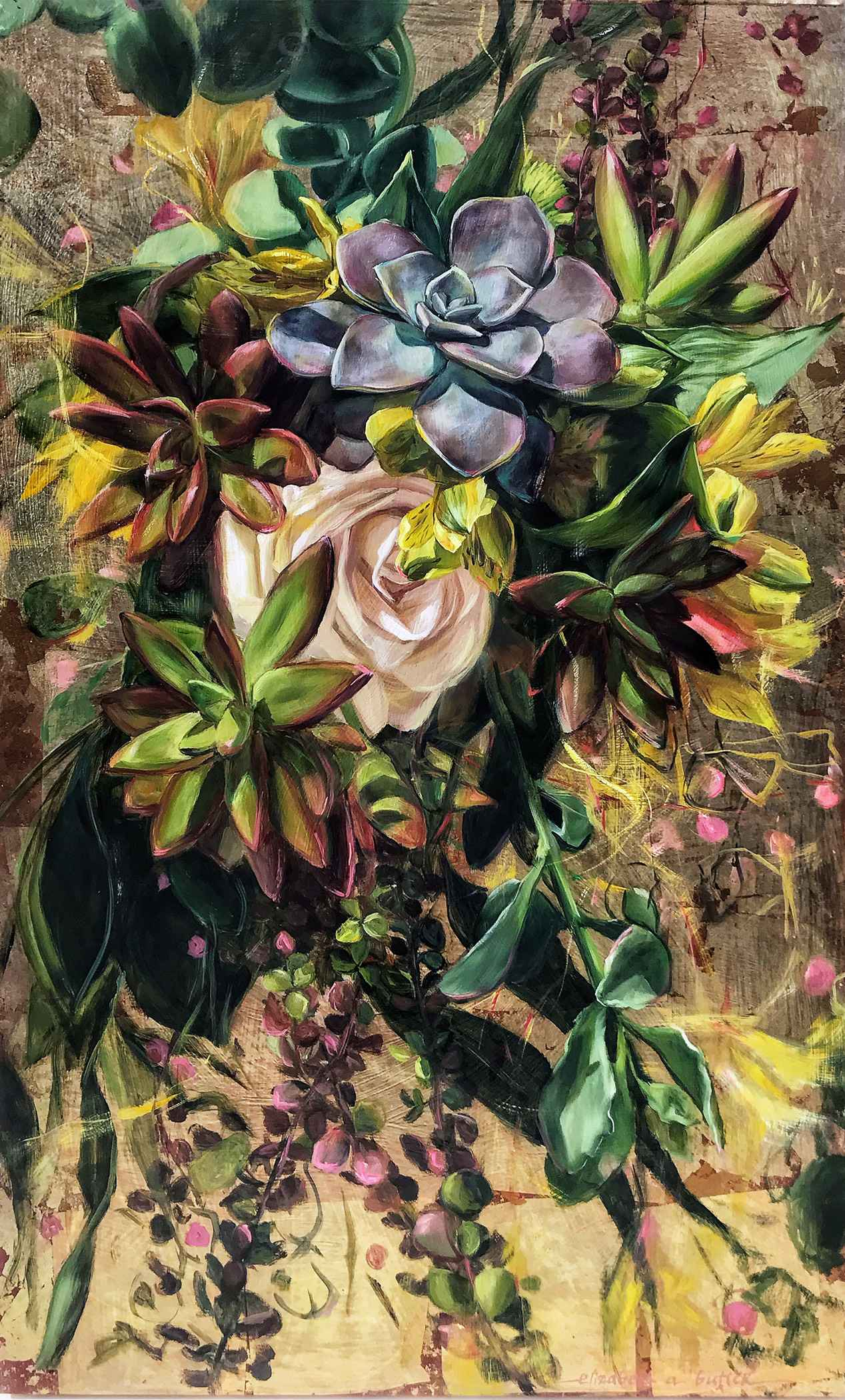 Succulent Floral Burs... by  Elizabeth Butler - Masterpiece Online