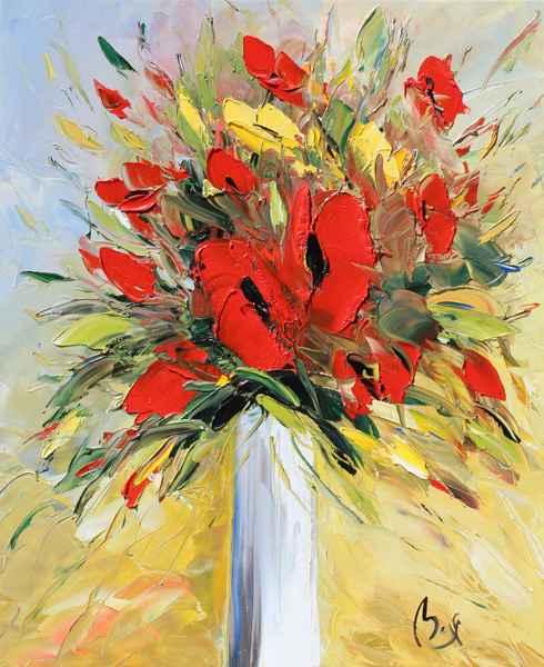 White Vase, Red Poppi...  by  Louis  Magre