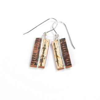 Classic Collection Earrings Birch Bark and Sterling, 3/4
