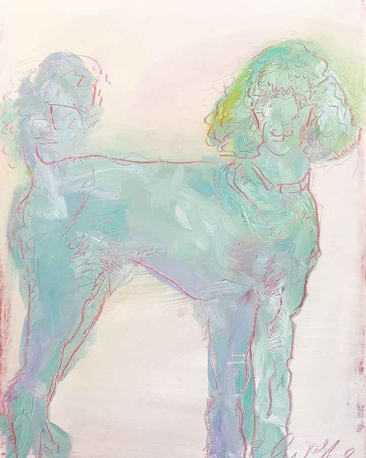 Blue Poodle  by  Elizabeth Wolfe