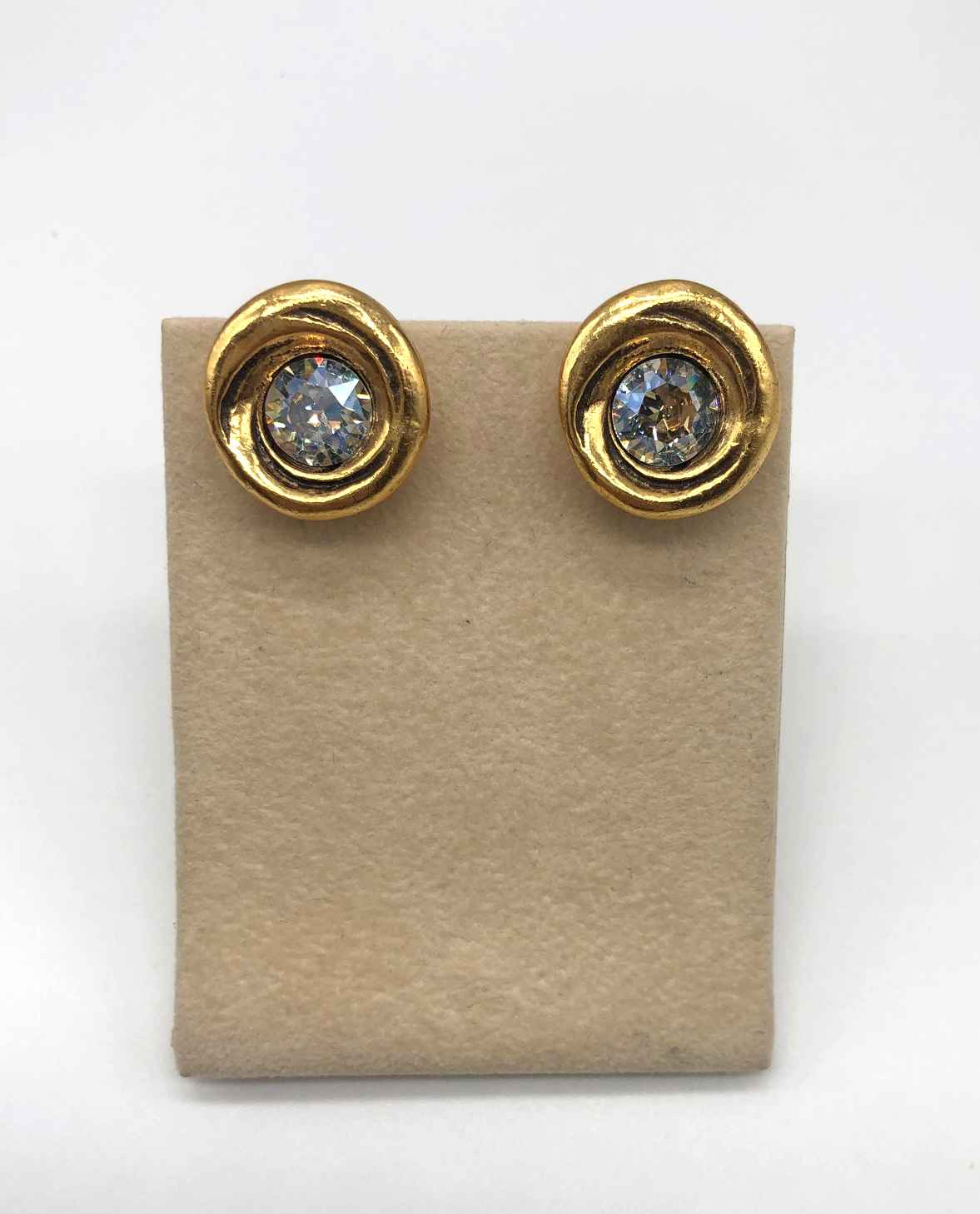 Amala Clip Earrings in Gold, Crystal Moonlight Crystal