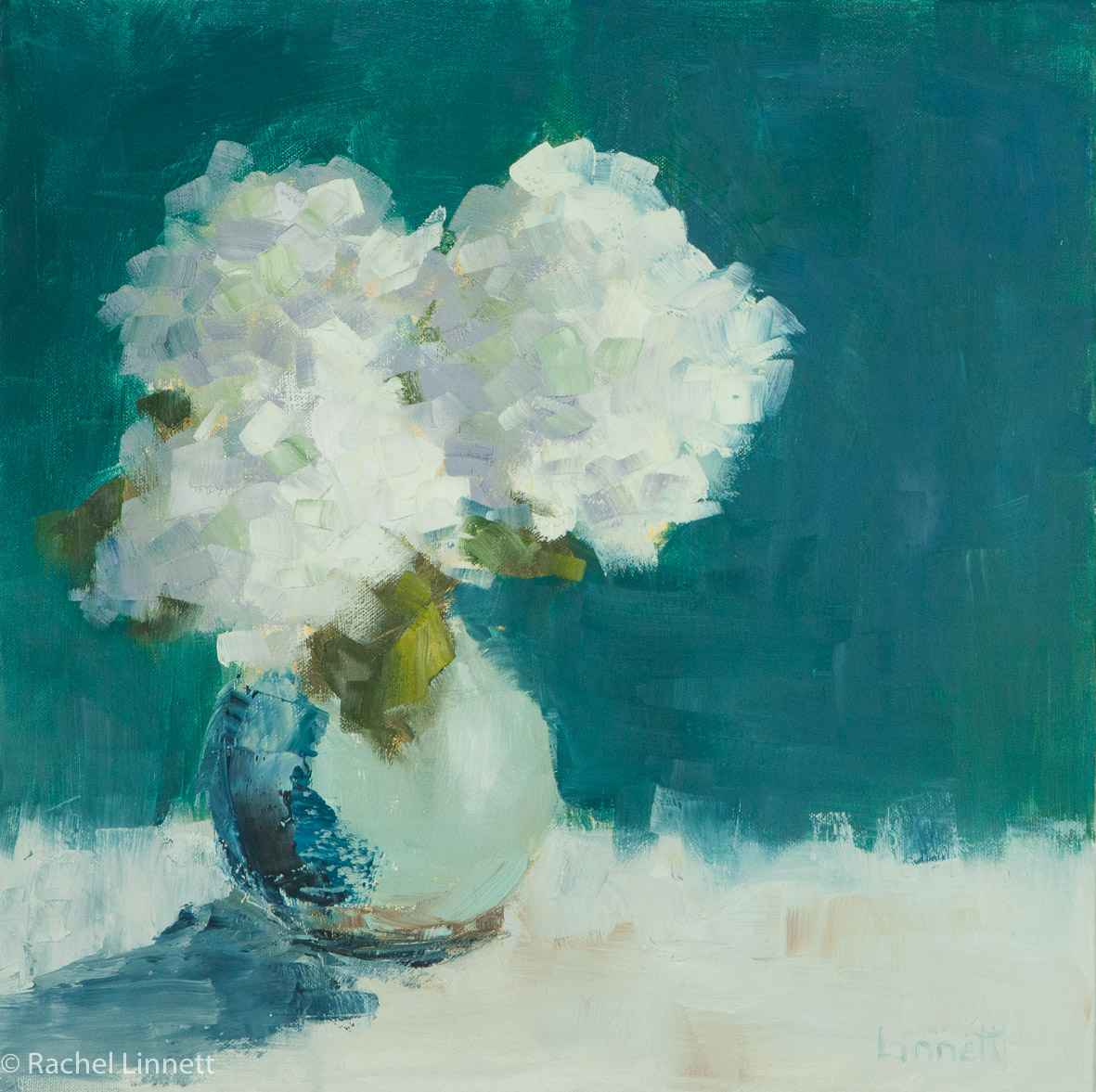 White Hydrangeas on T...