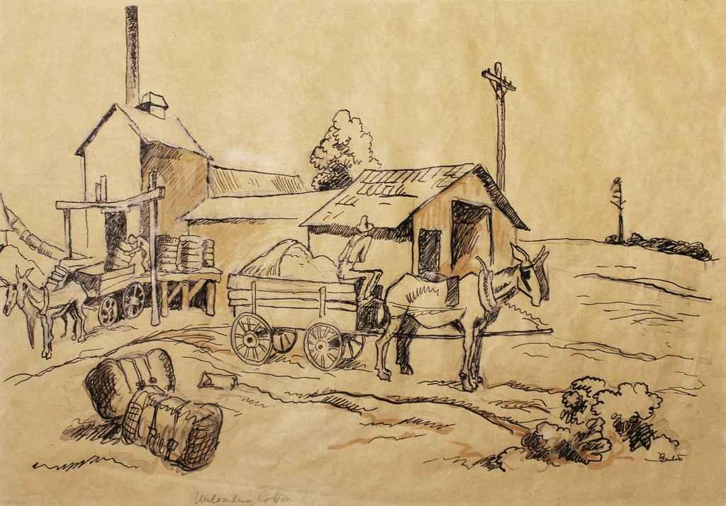 Unloading Cotton by  Thomas Hart Benton - Masterpiece Online