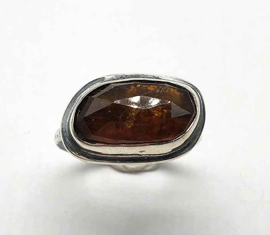 Grossular Garnet Faceted Cut Ring Size 7