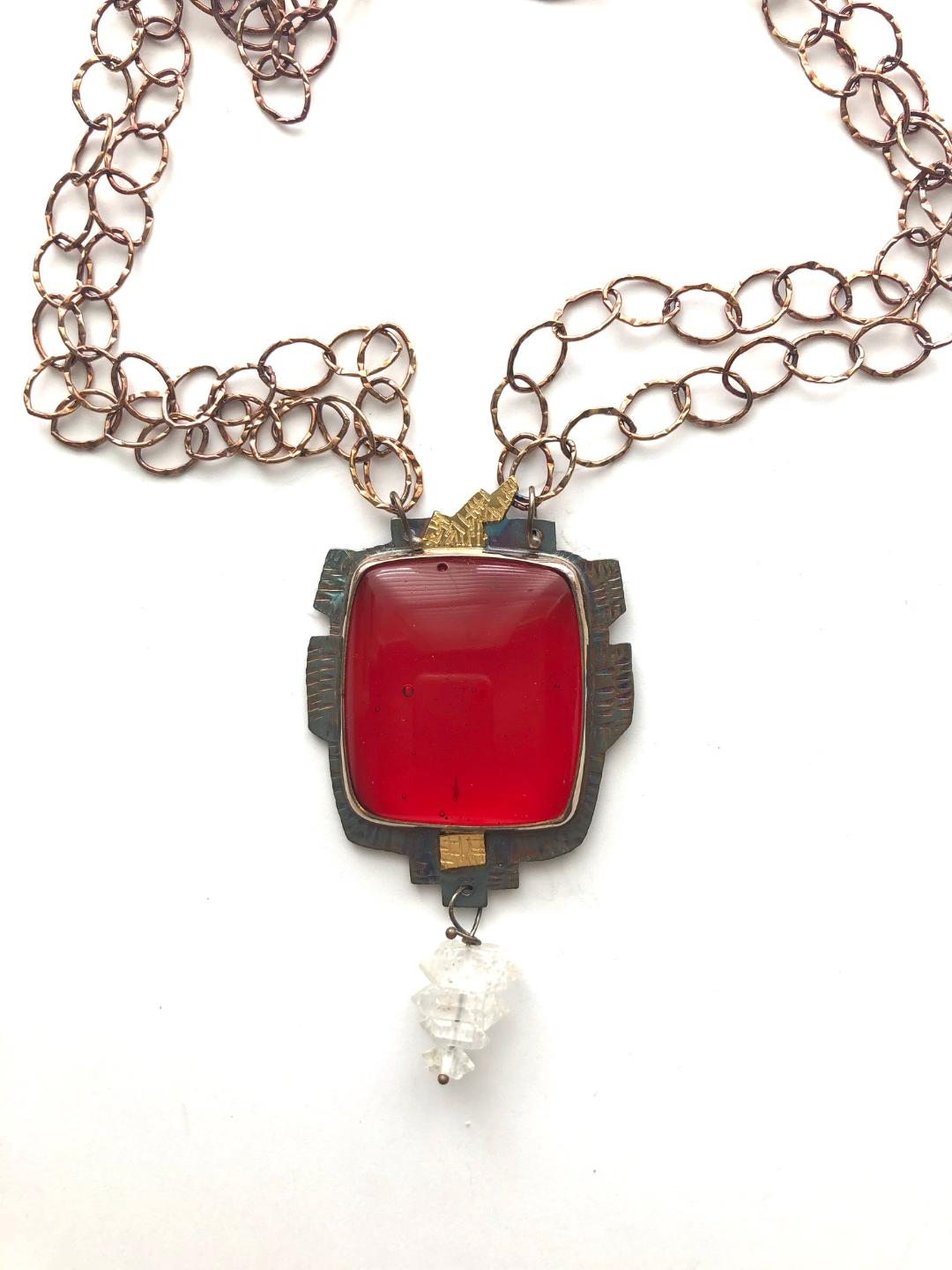 Rosa Rita Glass with Herkimer Diamonds Necklace in 22k Gold and Sterling Silver