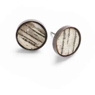 Classic Earrings Birch Bark and Oxidized Sterling, 1/2