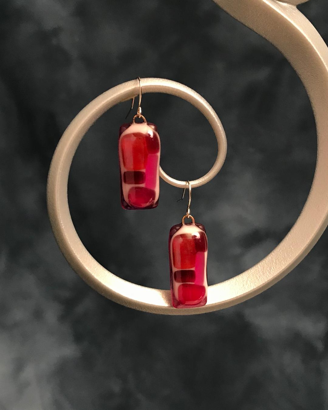 Fused Glass Plum Rectangles Earrings with Silver Plated Wires