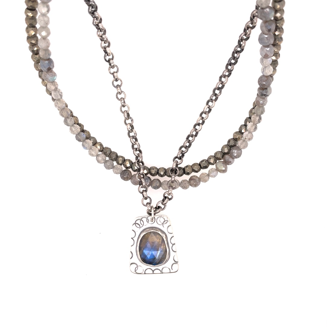 Labradorite and Pyrite Necklace with Sterling Silver Chain 16