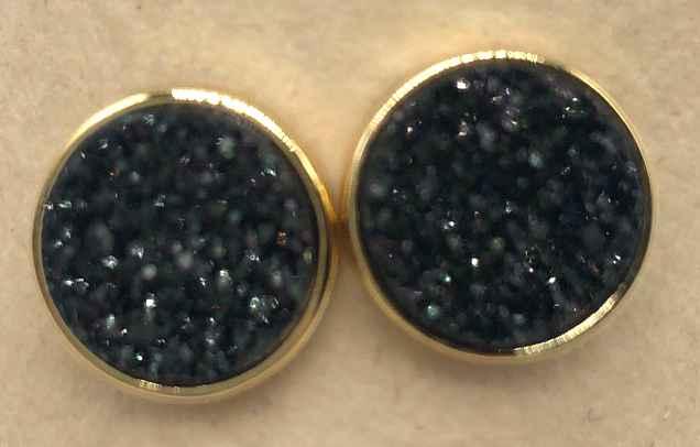 10mm Round Black Druzy set in Gold Earrings
