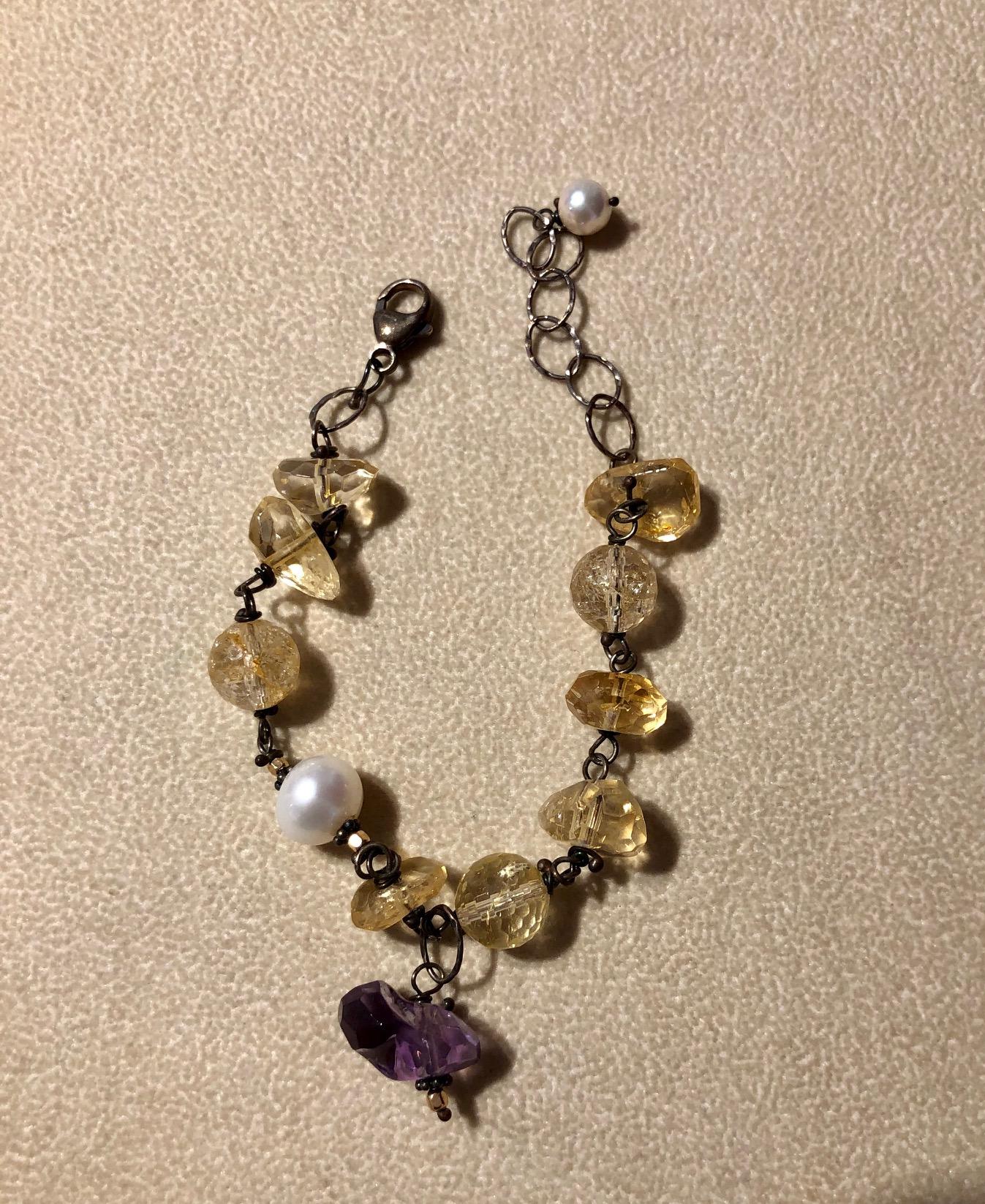 Citrine, Amethyst and Rutilated Quartz Bracelet